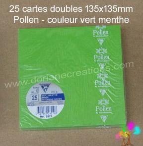 25 Cartes doubles Pollen 135X135, couleur vert menthe