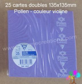 25 Cartes doubles Pollen 135X135, couleur violine