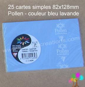 25 Cartes simples Pollen 82X128, couleur bleu lavande