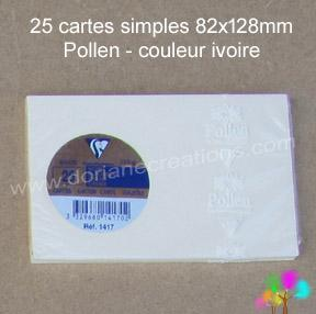 25 Cartes simples Pollen 82X128, couleur ivoire