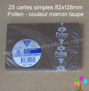 25 Cartes simples Pollen 82X128, couleur marron taupé