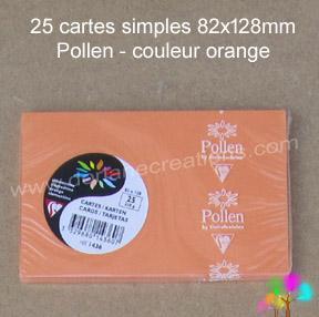 25 Cartes simples Pollen 82X128, couleur clémentine