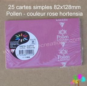 25 Cartes simples Pollen 82X128, couleur rose hortensia