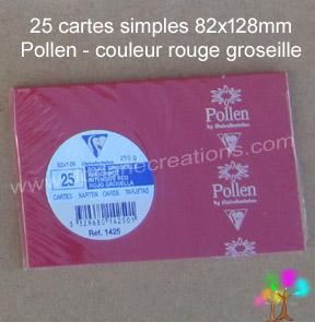 25 Cartes simples Pollen 82X128, couleur rouge groseille