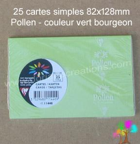 25 Cartes simples Pollen 82X128, couleur vert bourgeon