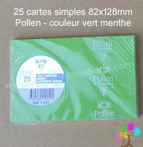 25 Cartes simples Pollen 82X128, couleur vert menthe