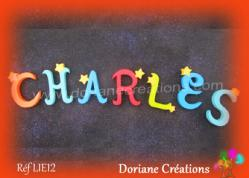 Lettres bois etoiles prenom charles