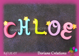 Lettres bois etoiles prenom chloe