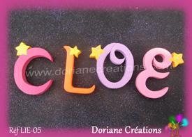Lettres bois etoiles prenom cloe