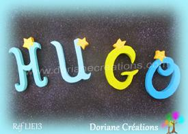 Lettres bois etoiles prenom hugo
