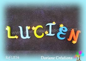 Lettres bois etoiles prenom lucien