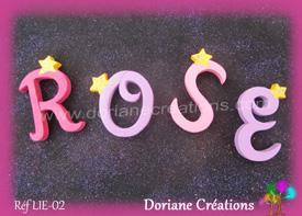 Lettres bois etoiles prenom rose