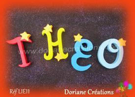 Lettres bois etoiles prenom theo