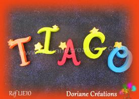 Lettres bois etoiles prenom tiago