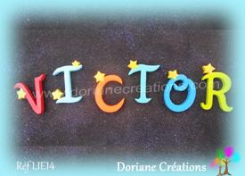 Lettres bois etoiles prenom victor