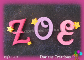 Lettres bois etoiles prenom zoe 1