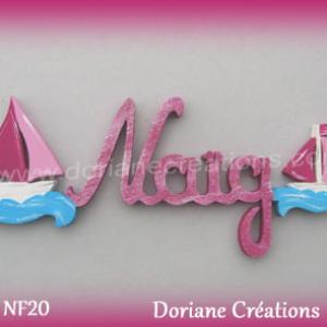 Lettres bois naig bateaux