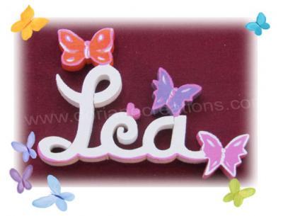 03 lettres - PRENOM EN BOIS BLANC papillons
