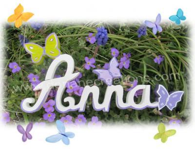 04 lettres - PRENOM EN BOIS BLANC papillons