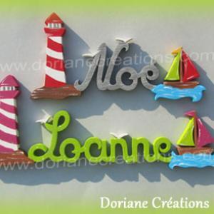 Lettres bois theme phare et bateau