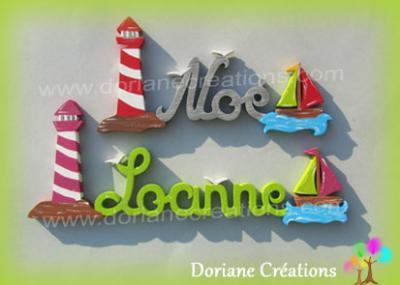 Prénom lettres bois avec phare et bateaux
