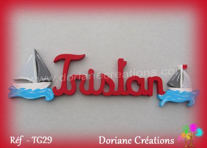 Lettres bois tristan bateaux