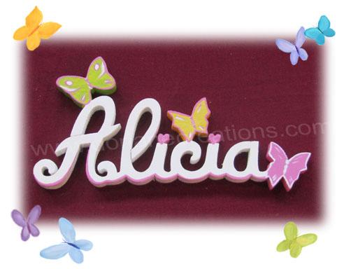 Lettres en bois papillons 6l