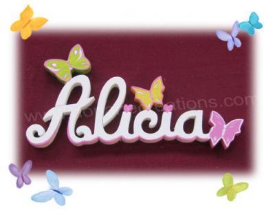 06 lettres - PRENOM EN BOIS BLANC papillons