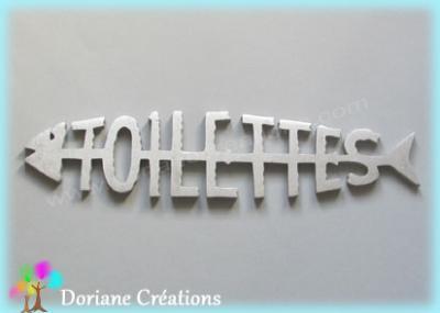 Lettres bois TOILETTES en arêtes de poisson