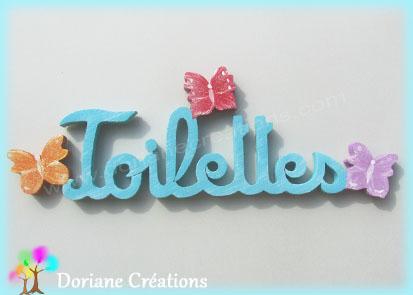 Lettres en bois toilettes avec papillons
