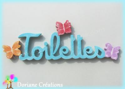 Lettres bois TOILETTES avec papillons