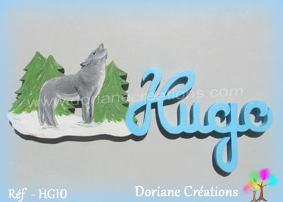 Lettres lettres bois hugo avec loup