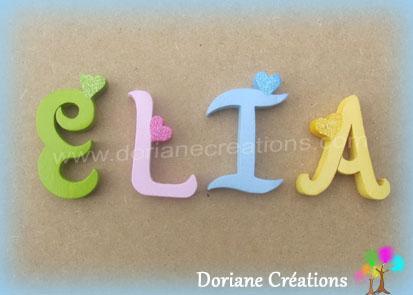 Lettres murales bois elia