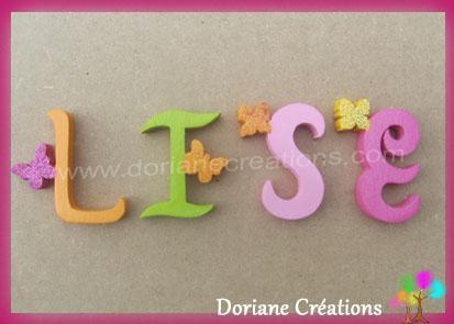 Lettres murales bois lise