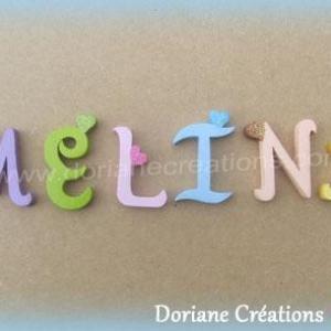 Lettres murales bois melina