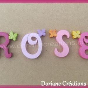 Lettres murales bois rose