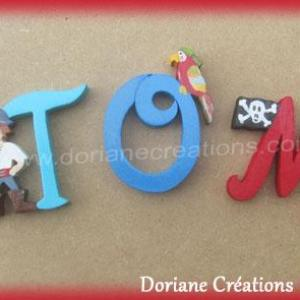 Lettres murales bois theme pirate tom
