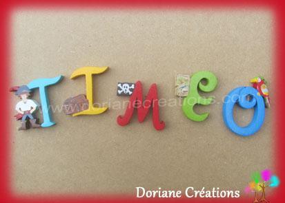 Lettres murales bois theme pirate