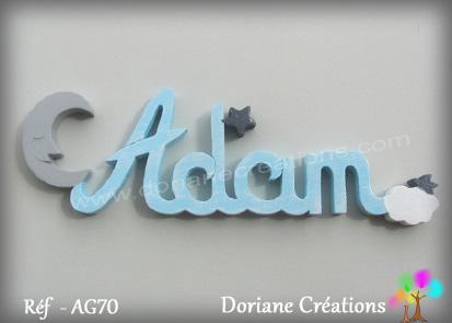 Lettres prenom bois adam avec lune
