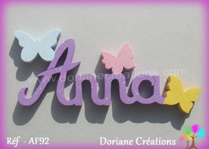 Lettres prenom bois anna papillons unis