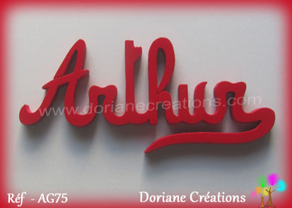 Lettres prenom bois arthur simple