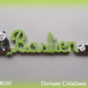 Lettres prenom bois bastien avec pandas