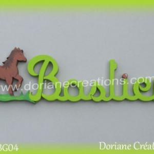 Lettres prenom bois bastien cheval