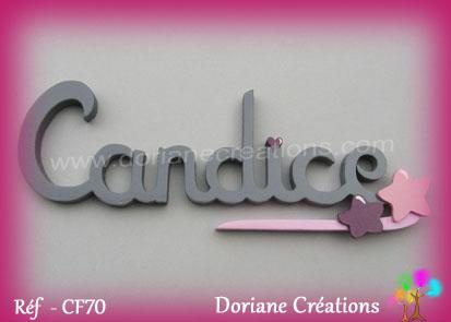 Lettres prenom bois candice signature etoile