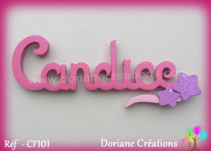 Lettres prenom bois candice signature etoiles