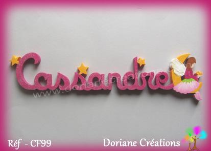 Lettres prenom bois cassandre avec elfe