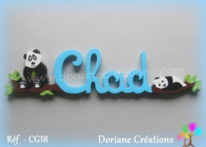 Lettres prenom bois chad avec pandas