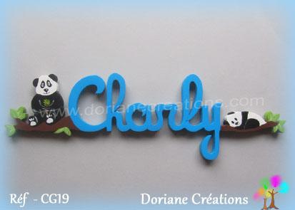 Lettres prenom bois charly avec pandas