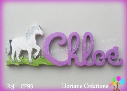 Lettres prenom bois chloe cheval au pas