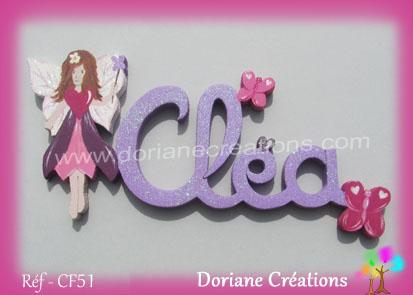 Lettres prenom bois clea fee